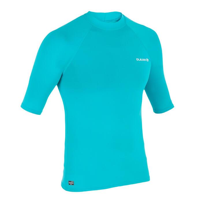 Top Camiseta Proteción Solar Playa Surf Olaian Uv100 Hombre Turquesa ANTI-UV