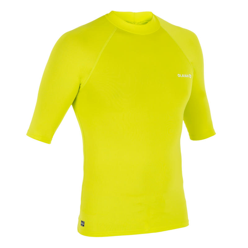 100 Men's Short Sleeve UV Protection Surfing Top T-Shirt - Yellow Anise