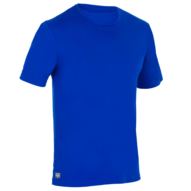 Olaian Uv-werend zwemshirt met korte mouwen voor heren, voor surfen, blauw
