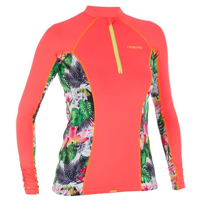 500 Women's Long Sleeve Zip UV Protection Surfing Top T-Shirt - Flower Orange