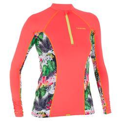 500 女性長袖防曬衝浪拉鍊上衣T恤 -花朵圖案 橘色