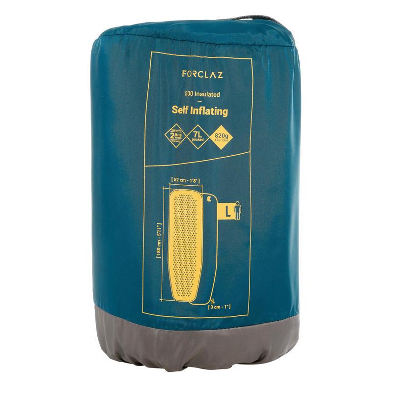 Colchón de trekking TREK500 autoinflable L azul
