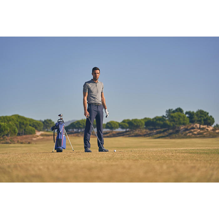 Polo de golf homme manches courtes 900 temps chaud gris chiné