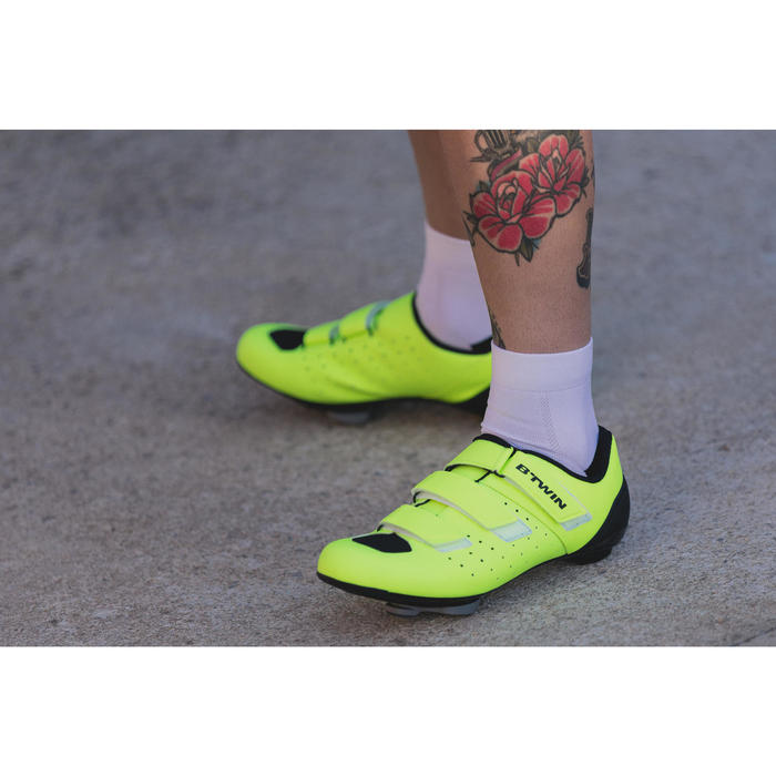Zapatillas ciclismo carretera ROADR 500 AMARILLO FLUO