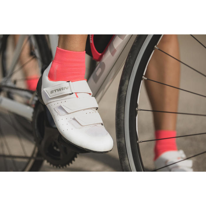 Chaussures vélo route RoadRacing 500 ROSE BLANC