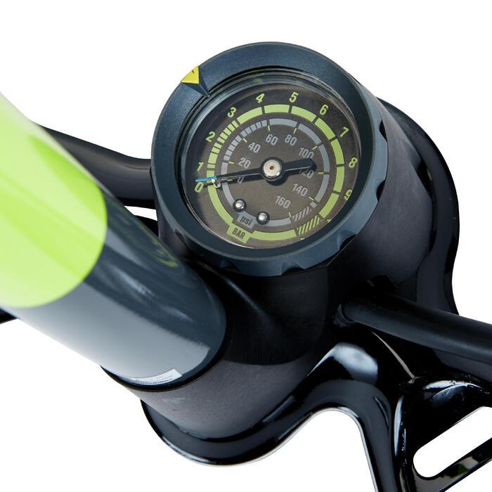 Bomba Pie Ciclismo Btwin 900 Amarillo Fluorescente Con Manómetro