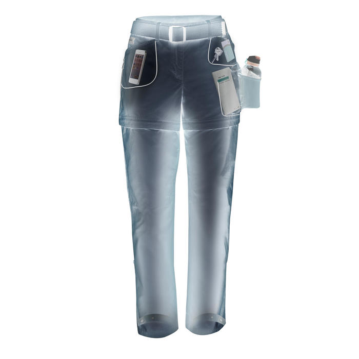 Pantalón TRAVEL 500 TRANSFORMABLE mujer gris
