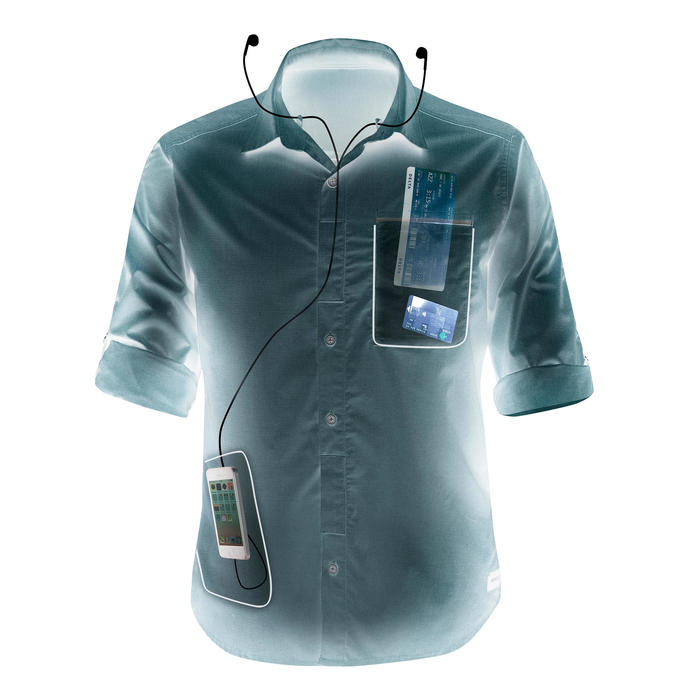 Camisa de manga larga trekking TRAVEL500 TRANSFORMABLE Hombre azul ... 9684e8d89b33e