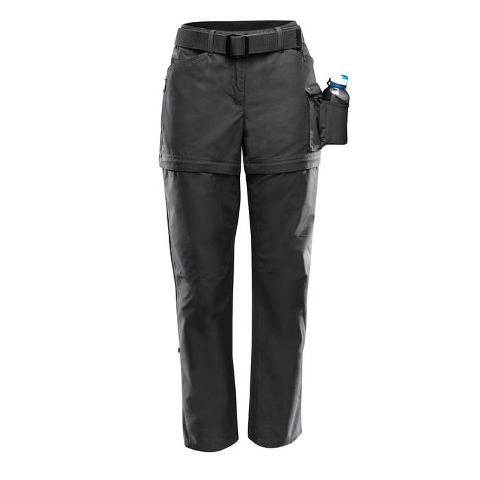 Pantalon modulable trekking TRAVEL500 femme gris