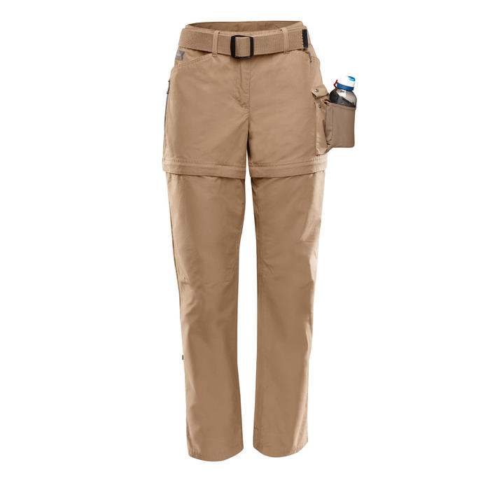 ad51b14a0448f Forclaz Pantalon modulable treking TRAVEL500 femme camel | Decathlon