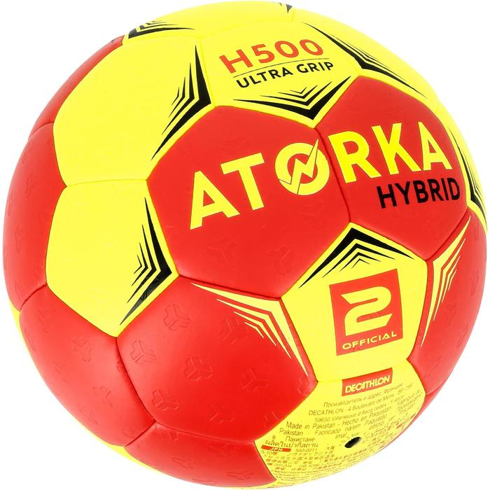 Ballon de handball hybride H500 Taille 2 rouge et - 1308777