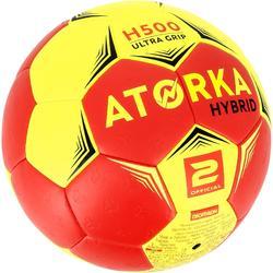 Handball H500 Hybrid Größe 2 rot/gelb