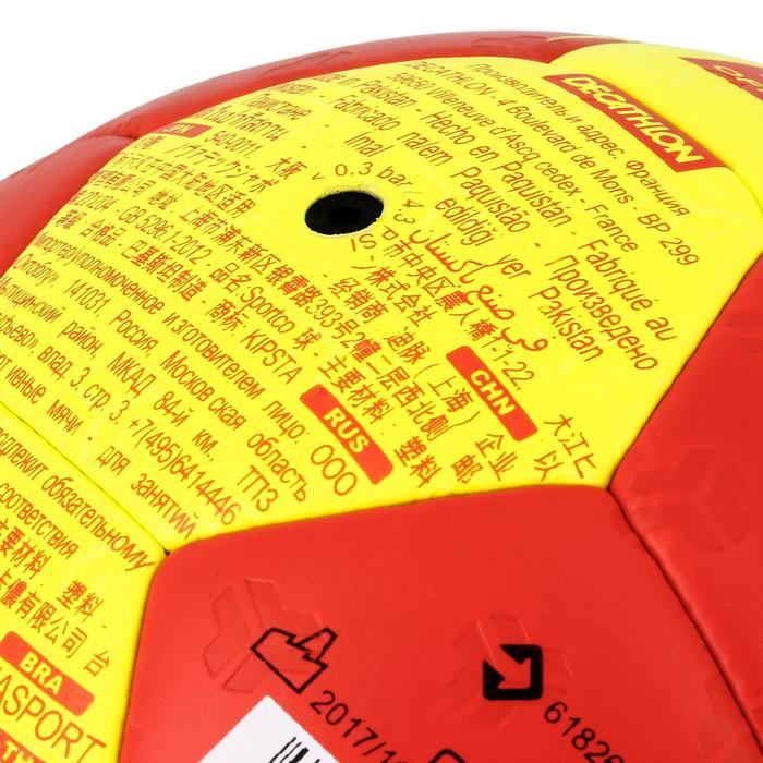 Ballon de handball adulte hybride H500 Taille 2 rouge et jaune