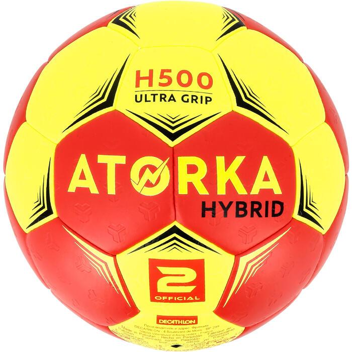 Ballon de handball hybride H500 Taille 2 rouge et - 1308787