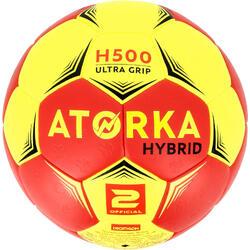 Balón de balonmano adulto híbrido H500 Talla 2 rojo y amarillo