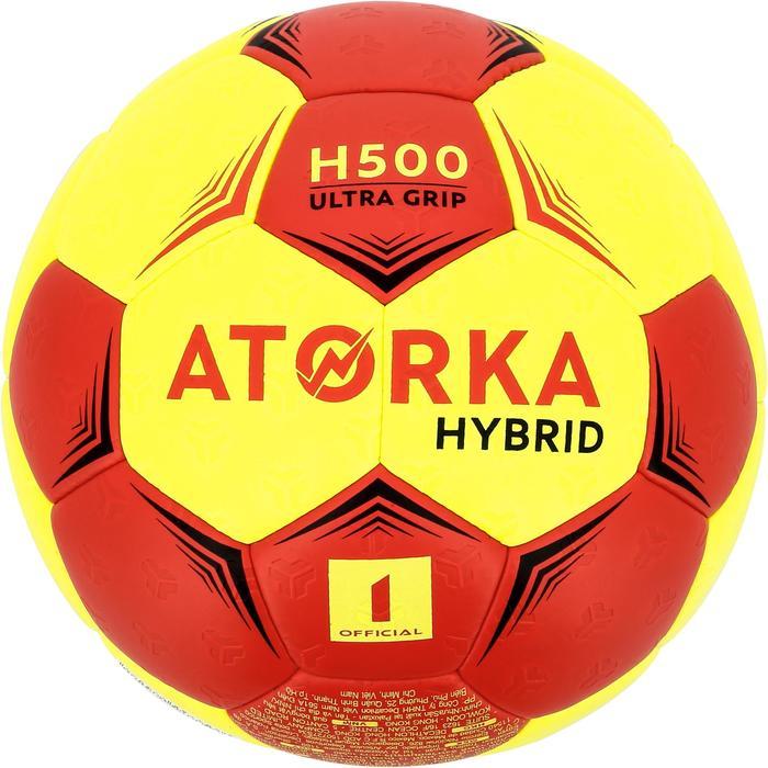Balón de balonmano júnior híbrido H500 T1 rojo/amarillo