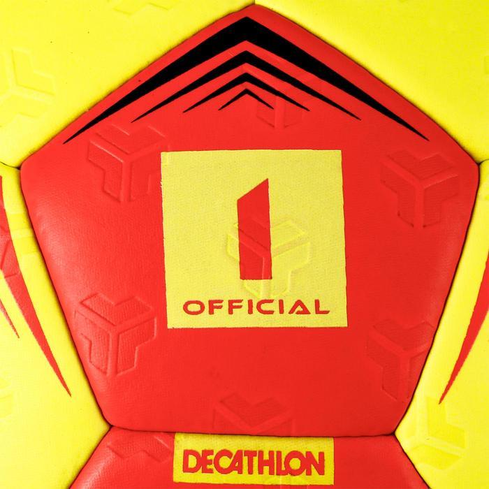 Ballon de handball enfant hybride H500 T1 rouge/jaune