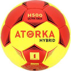 Balón de balonmano júnior híbrido H500 talla 1 rojo y amarillo