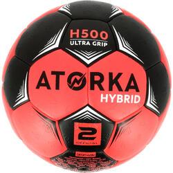 Balón de Balonmano Atorka H500 Híbrido Talla 2 Negro Rosa