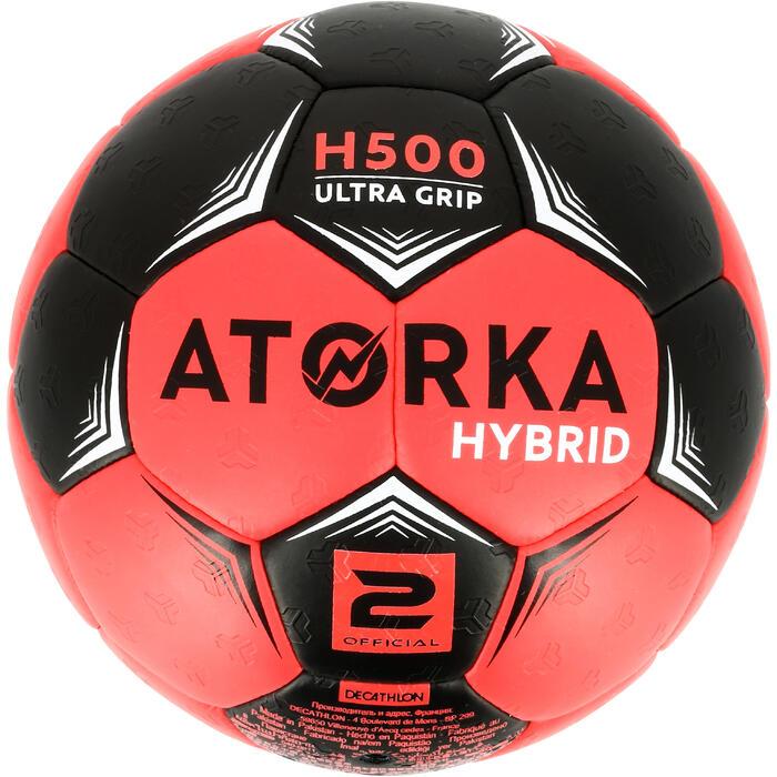 Ballon de handball hybride H500 Taille 2 rouge et - 1308822