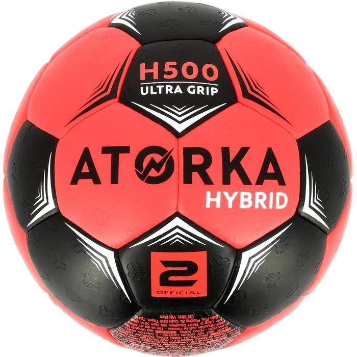 Ballon de handball hybride H500 Taille 2 rouge et - 1308824