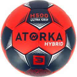 Ballon de handball adulte hybride Taille 3 rouge et bleu