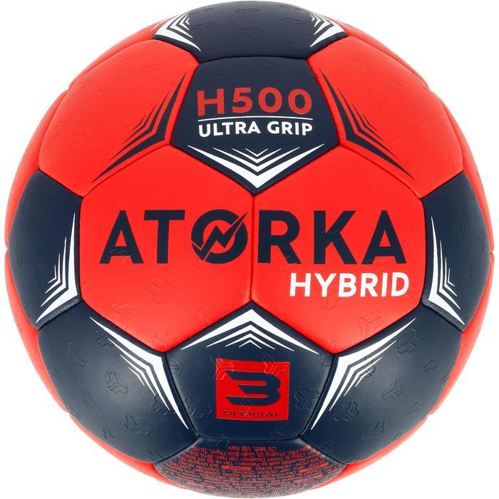 Ballon de handball hybride H500 Taille 2 rouge et - 1308826