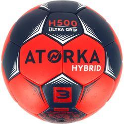 Balón de balonmano adulto híbrido H500 Talla 3 azul y rojo