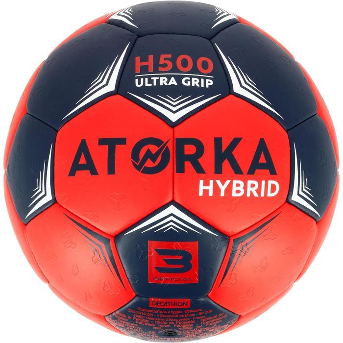 Handbal voor volwassenen H500 hybride maat 3 blauw en rood