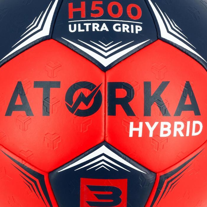 Ballon de handball adulte hybride H500 Taille 3 bleu et rouge