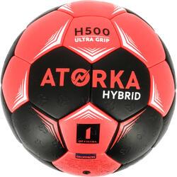 Balón de balonmano júnior híbrido Talla 1 negro y rosa