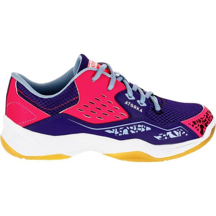 Chaussures de Handball H100 fille avec lacets violettes et roses - 1308865