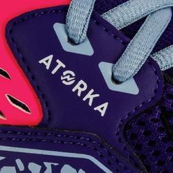 Chaussures de handball enfants H100 avec lacets violet / rose