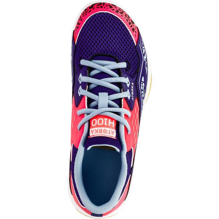Chaussures de Handball H100 fille avec lacets violettes et roses - 1308869