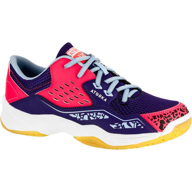 H100 Kids' Lace-Up Handball Shoes - Purple/Pink