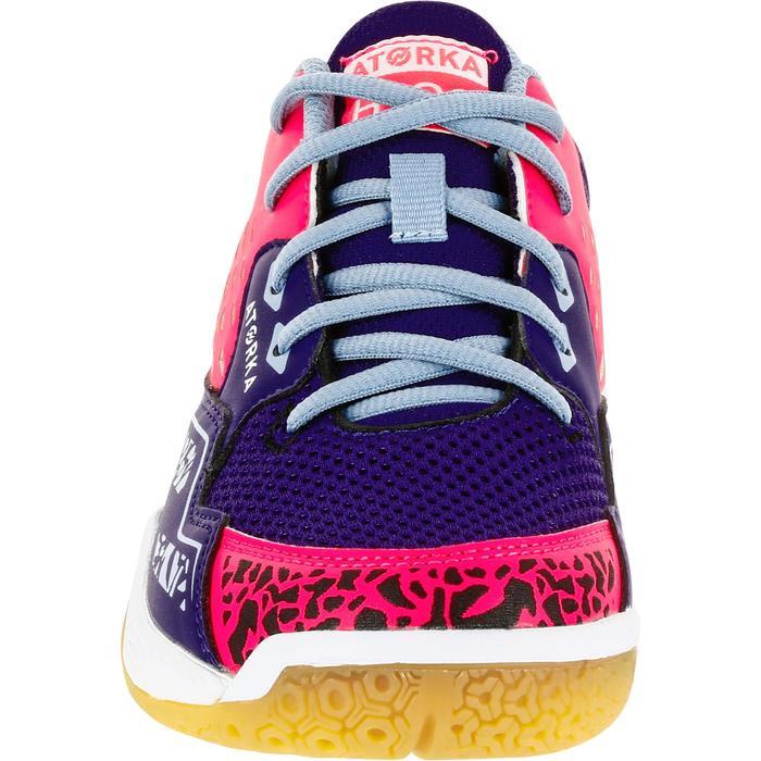 Chaussures de Handball H100 fille avec lacets violettes et roses - 1308872