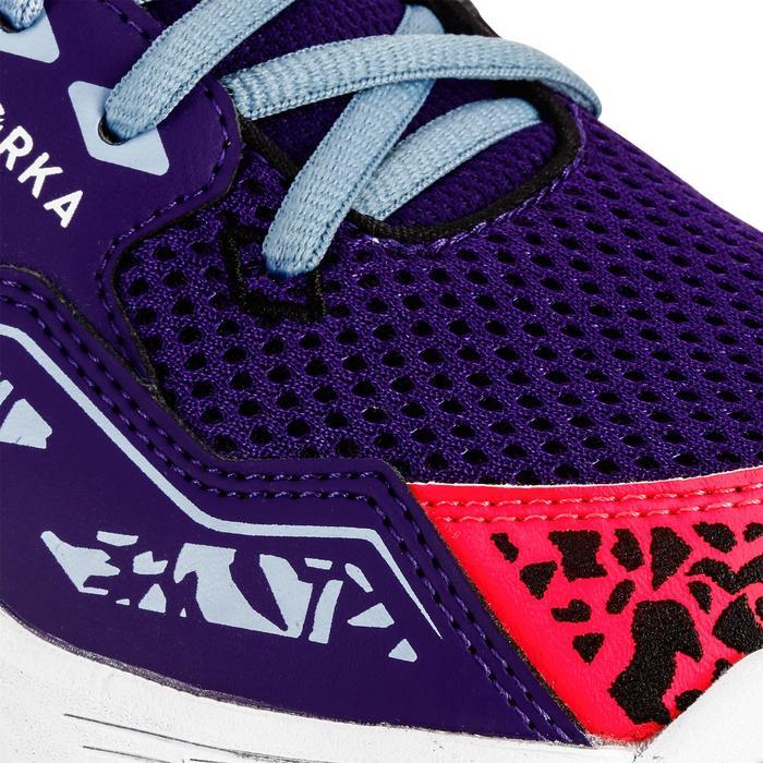 Chaussures de Handball H100 fille avec lacets violettes et roses