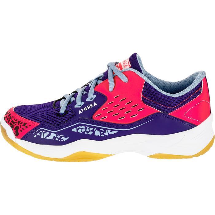 Chaussures de Handball H100 fille avec lacets violettes et roses - 1308879