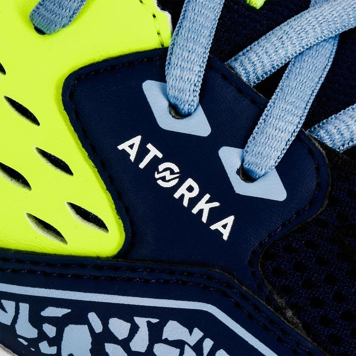 Chaussures de Handball H100 garçon avec scratchs bleues et jaunes