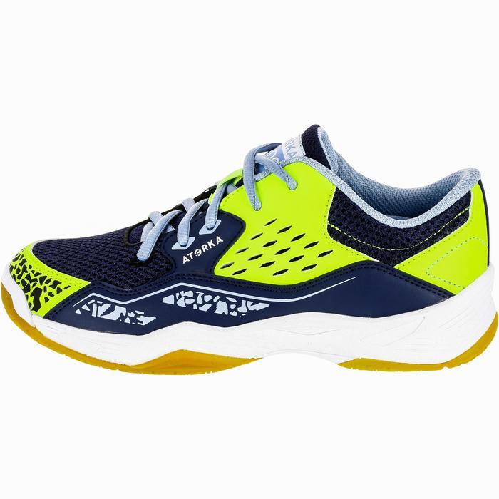 Handbalschoenen voor kinderen H100 klittenband blauw/geel