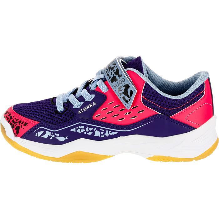Chaussures de Handball H100 fille avec lacets violettes et roses - 1308925