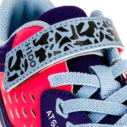 Chaussures de handball enfants H100 avec scratch violet / rose