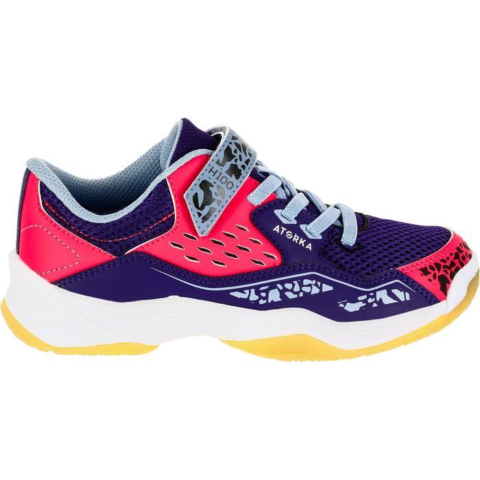 Chaussures de Handball H100 fille avec lacets violettes et roses - 1308934