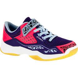 Chaussures de Handball H100 fille avec scratchs violettes et roses