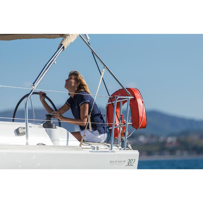 Women's 100 Adventure Short-sleeved Sailing Polo Shirt Blue