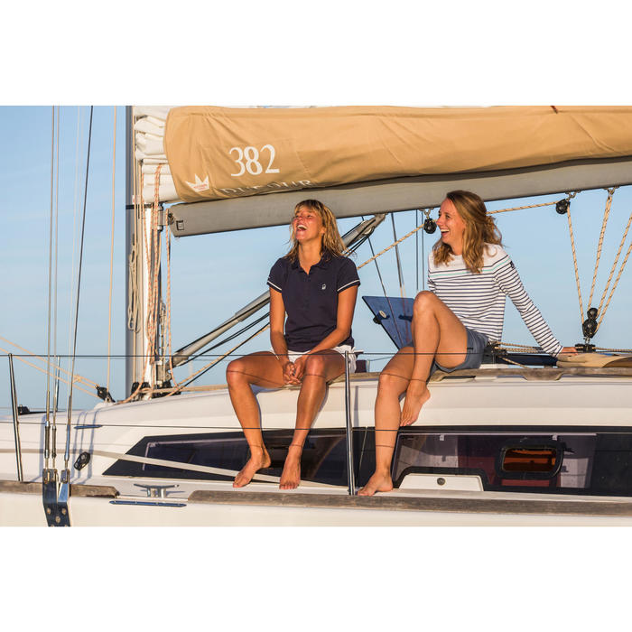 女款航海短袖Polo衫100 Adventure-藍色