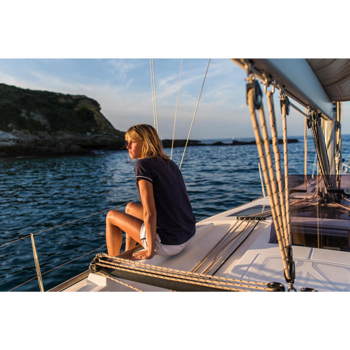 Polo Manches courtes Voile aventure 100 Femme Bleu
