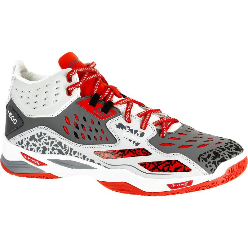 H500 Adult Mid Handball Shoes - Grey/Red