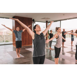 Mouwloos yogashirt voor dames gemêleerd zwart