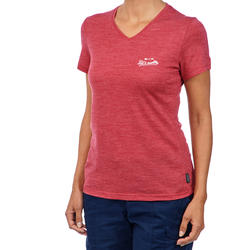 Travel500 Women's Merino Wool Short-Sleeved Trekking T-Shirt - Pink